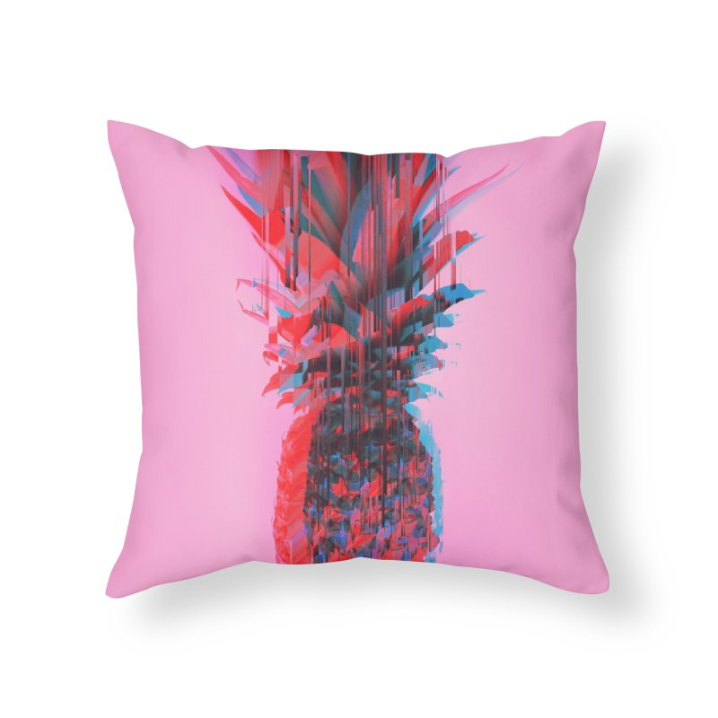 Glitched Pineapple on Pink Home Throw Pillow by cafelab