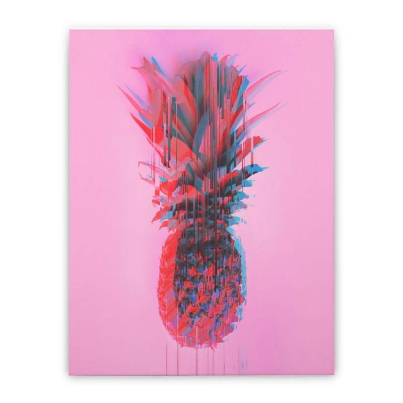 Glitched Pineapple on Pink Home Stretched Canvas by cafelab's Artist Shop