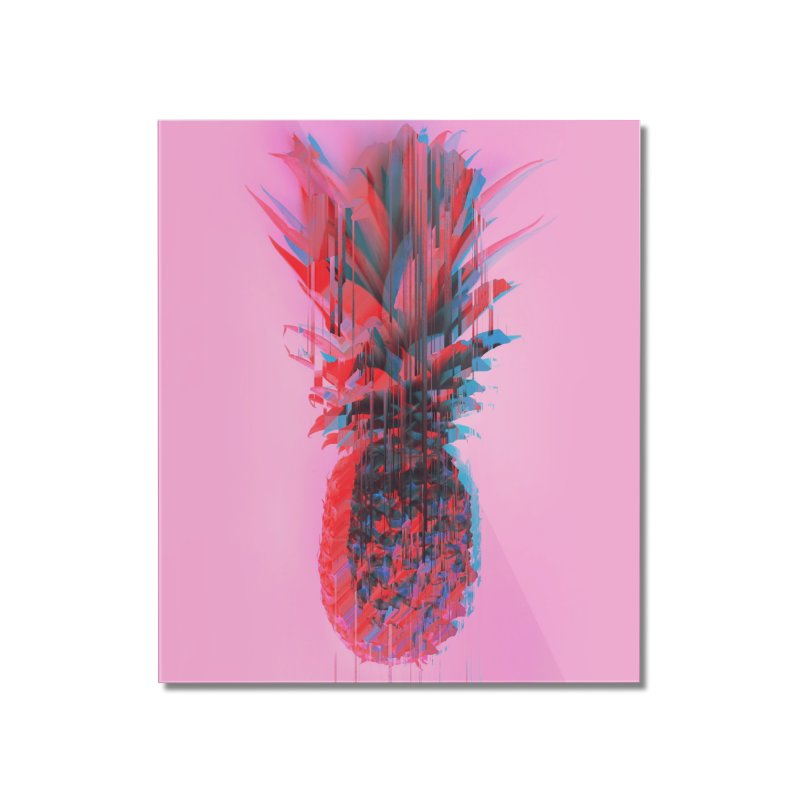 Glitched Pineapple on Pink Home Mounted Acrylic Print by cafelab's Artist Shop