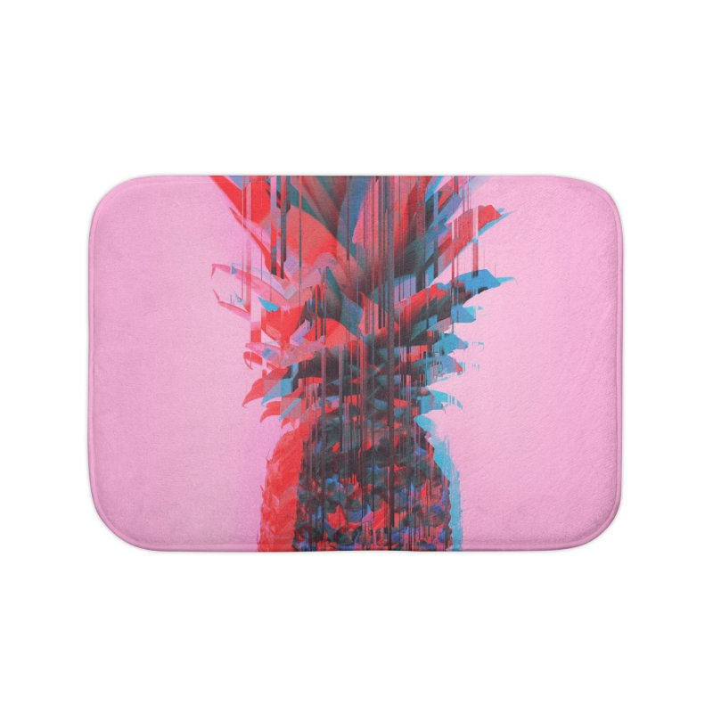 Glitched Pineapple on Pink Home Bath Mat by cafelab