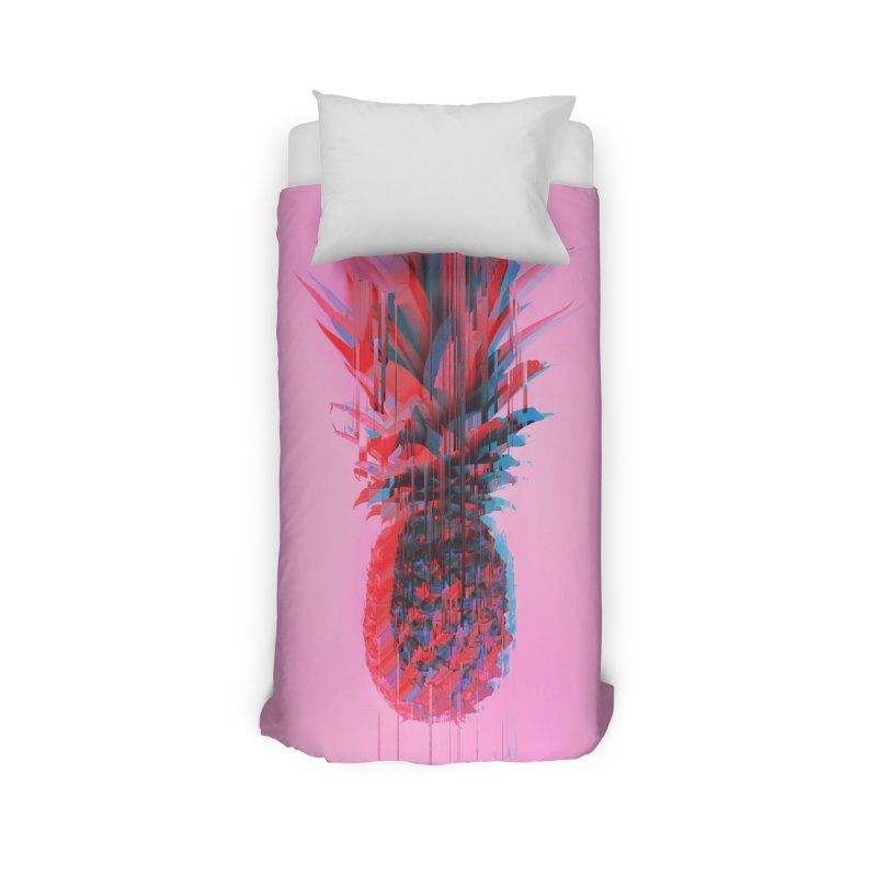 Glitched Pineapple on Pink Home Duvet by cafelab