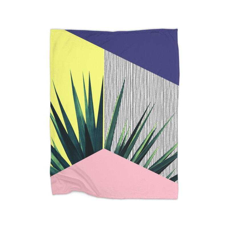 Geometric Leaves #1 Home Fleece Blanket Blanket by cafelab