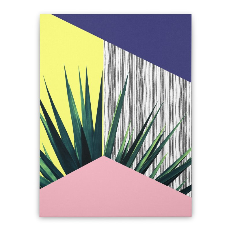 Geometric Leaves #1 Home Stretched Canvas by cafelab
