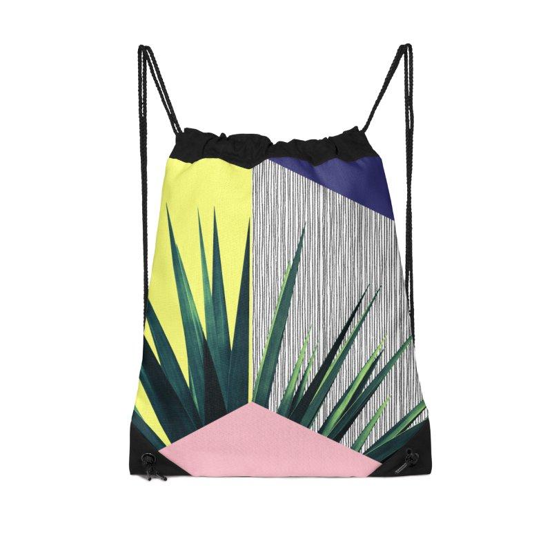 Geometric Leaves #1 Accessories Drawstring Bag Bag by cafelab