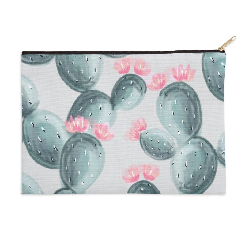 Painted Cactus Pattern Accessories Zip Pouch by cafelab