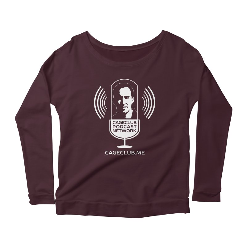 I ❤️ The CageClub Podcast Network (white logo) Women's Scoop Neck Longsleeve T-Shirt by The CageClub Podcast Network Shop