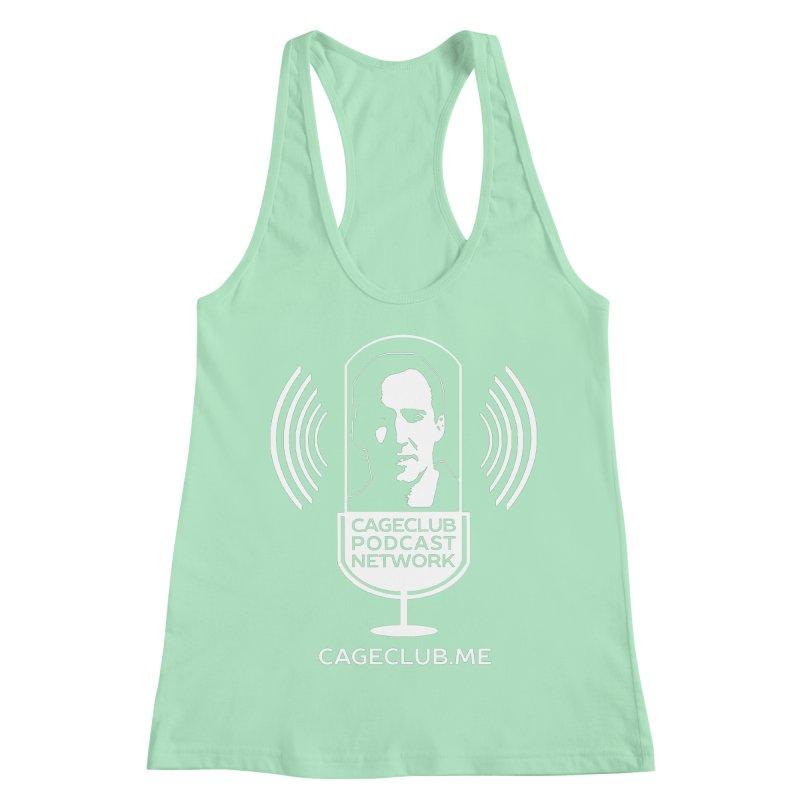 I ❤️ The CageClub Podcast Network (white logo) Women's Racerback Tank by The CageClub Podcast Network Shop