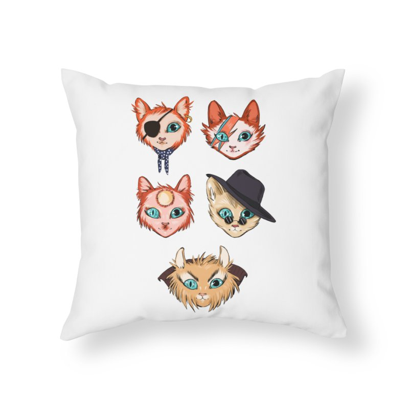 Bowie Cats Home Throw Pillow by caitymayhem's Artist Shop