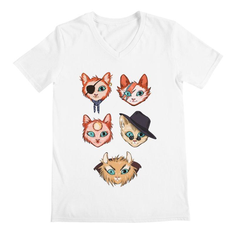 Bowie Cats Men's V-Neck by caitymayhem's Artist Shop