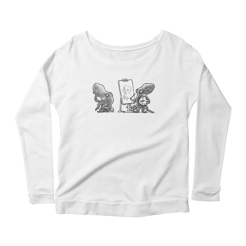Octopus Painter Women's Scoop Neck Longsleeve T-Shirt by Calamityware