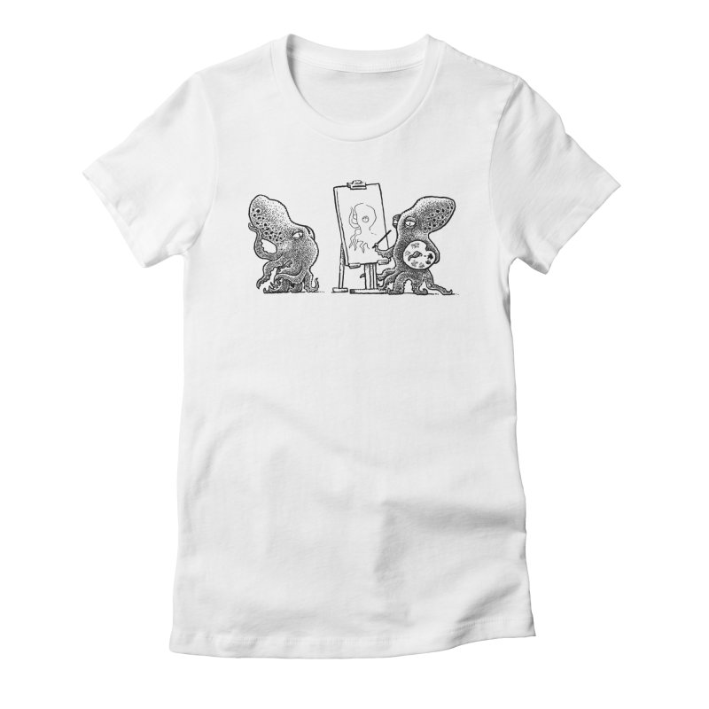 Octopus Painter Women's Fitted T-Shirt by Calamityware