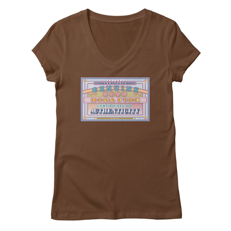 Certificate of Authenticity Women's V-Neck by Calamityware