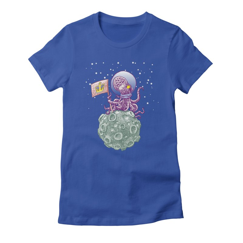 Space Octopus Women's Fitted T-Shirt by Calamityware