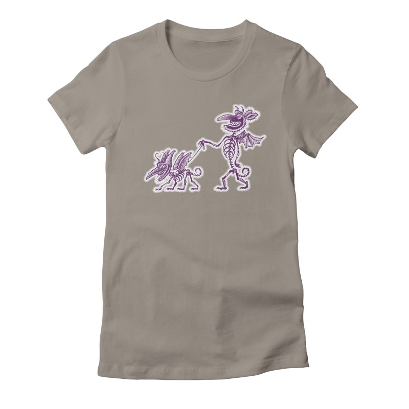 Demon Walkies Women's Fitted T-Shirt by Calamityware