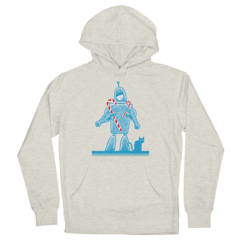 Robot Candy Cane Women's French Terry Pullover Hoody by Calamityware