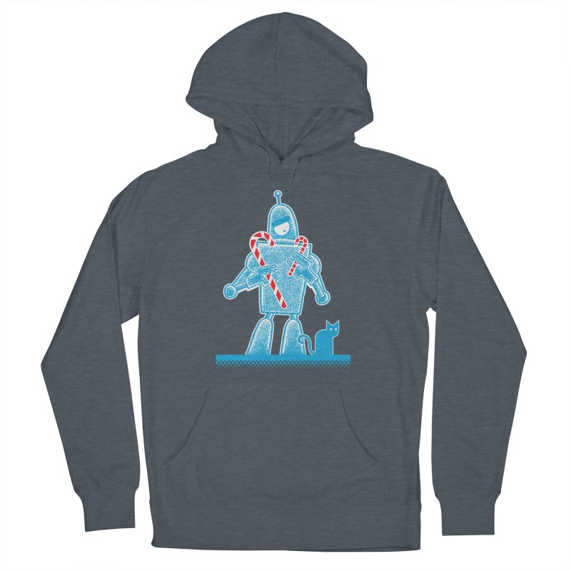 Robot Candy Cane Men's Pullover Hoody by Calamityware