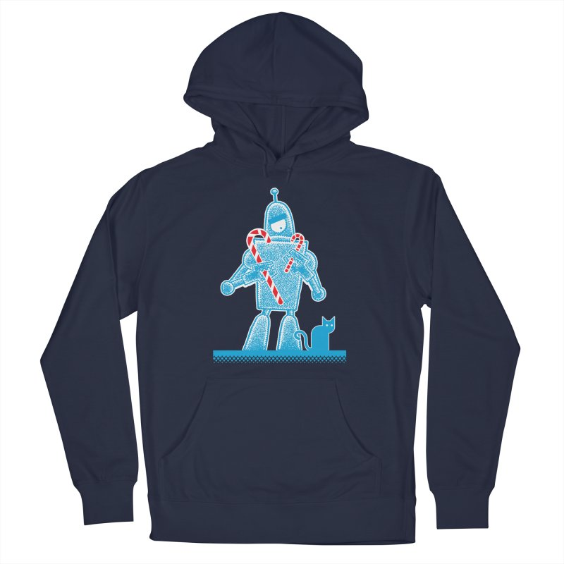 Robot Candy Cane Men's French Terry Pullover Hoody by Calamityware
