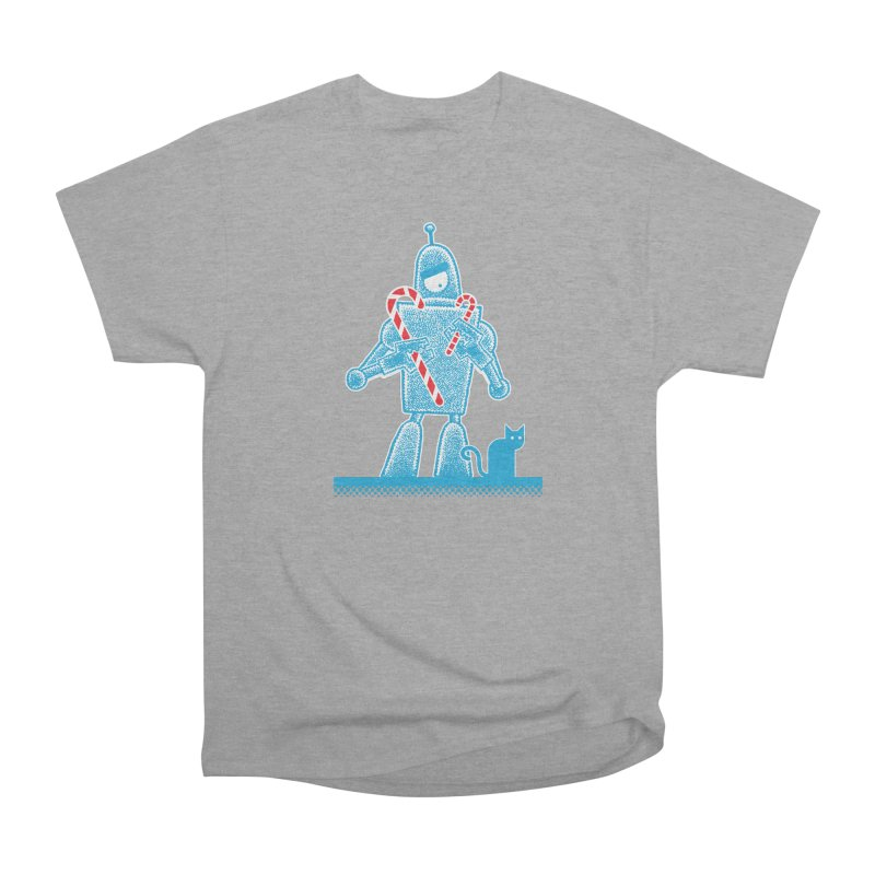 Robot Candy Cane Women's Heavyweight Unisex T-Shirt by Calamityware