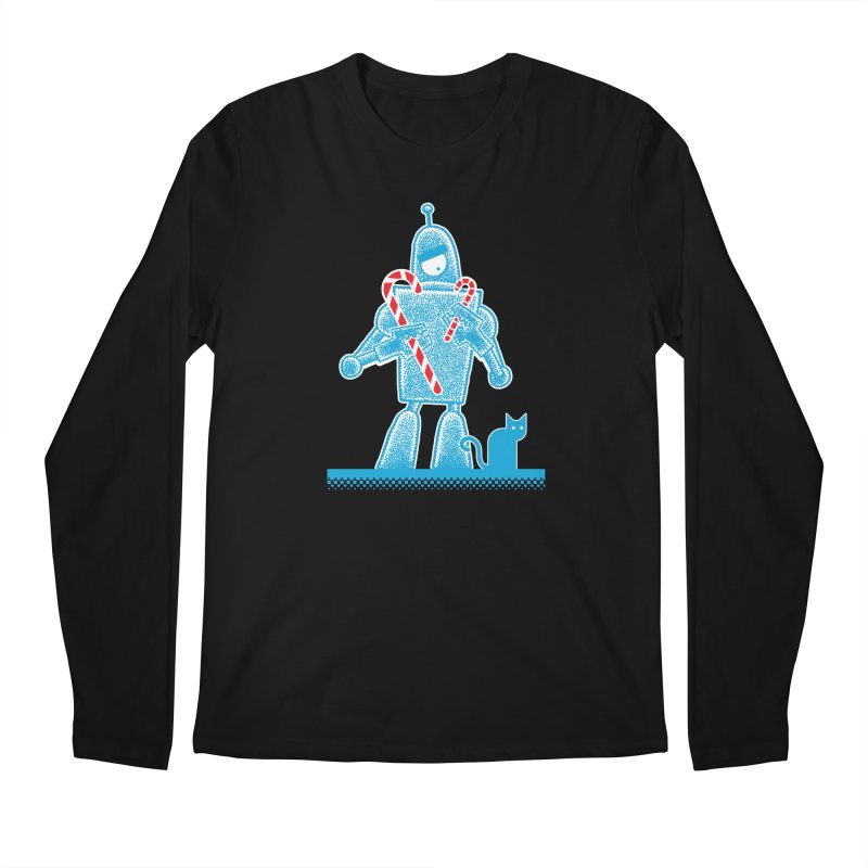 Robot Candy Cane Men's Longsleeve T-Shirt by Calamityware
