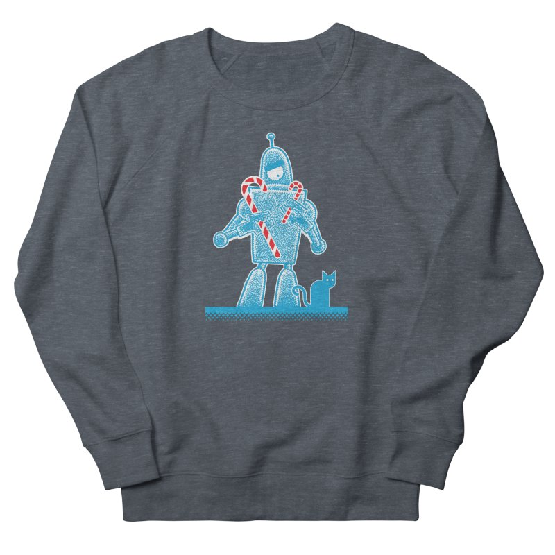 Robot Candy Cane Women's French Terry Sweatshirt by Calamityware