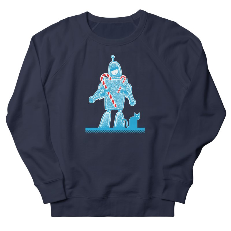 Robot Candy Cane Men's French Terry Sweatshirt by Calamityware