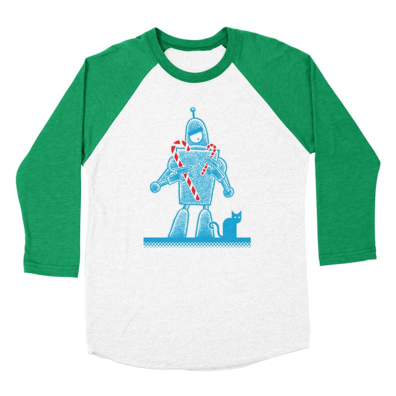 Robot Candy Cane Women's Baseball Triblend T-Shirt by Calamityware