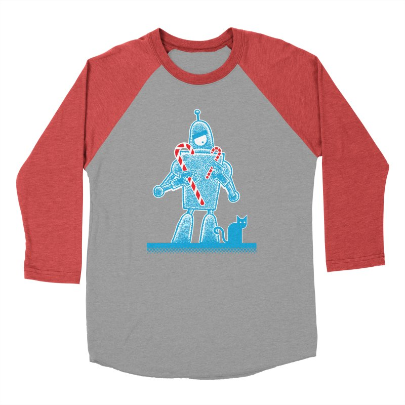Robot Holiday Women's Baseball Triblend T-Shirt by Calamityware