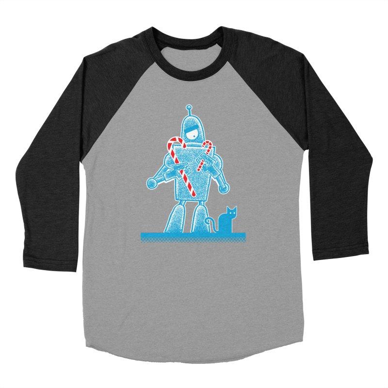 Robot Candy Cane Women's Baseball Triblend T-Shirt by Calamityware