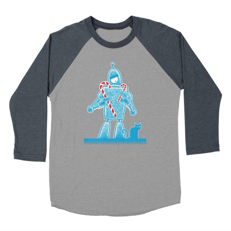 Robot Candy Cane Men's Baseball Triblend T-Shirt by Calamityware