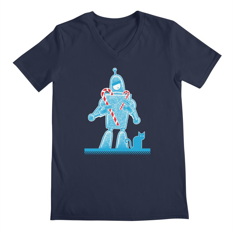 Robot Candy Cane Men's V-Neck by Calamityware