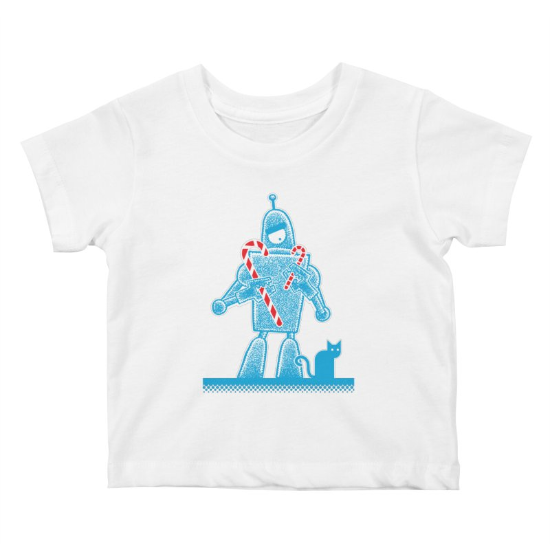 Robot Candy Cane Kids Baby T-Shirt by Calamityware