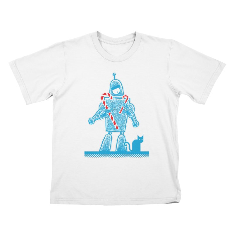 Robot Candy Cane Kids T-Shirt by Calamityware