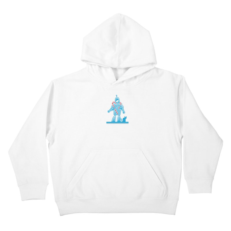 Robot Candy Cane Kids Pullover Hoody by Calamityware