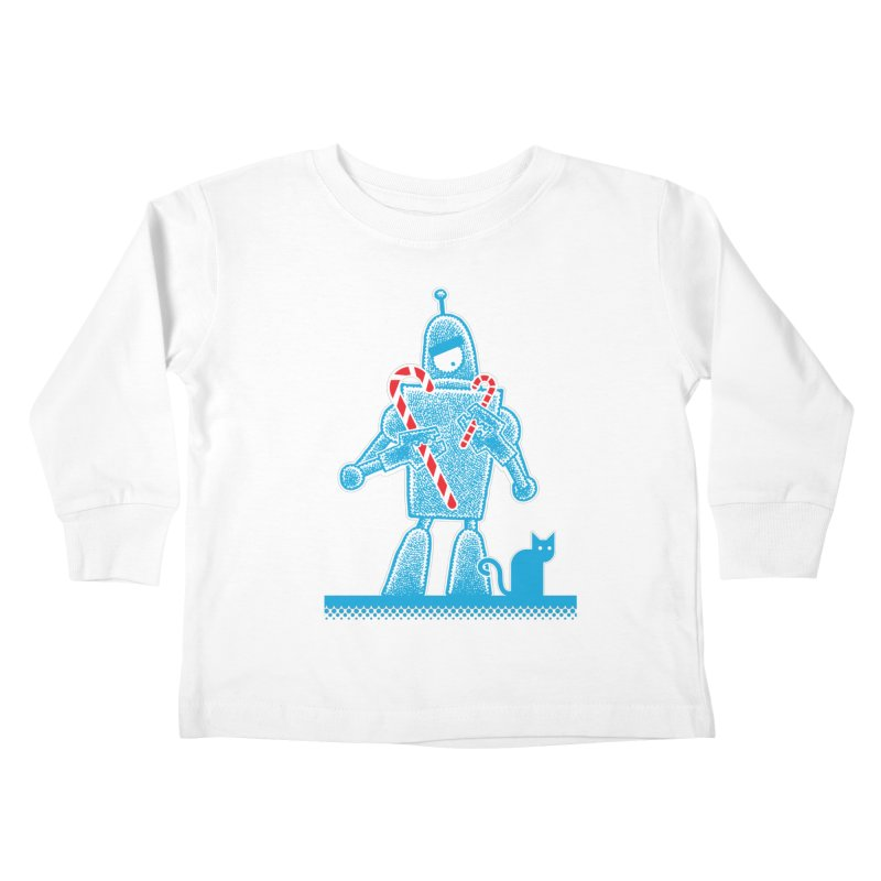 Robot Holiday Kids Toddler Longsleeve T-Shirt by Calamityware