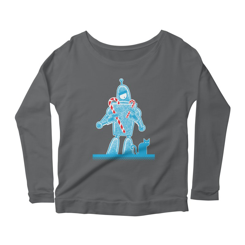 Robot Candy Cane Women's Longsleeve Scoopneck  by Calamityware