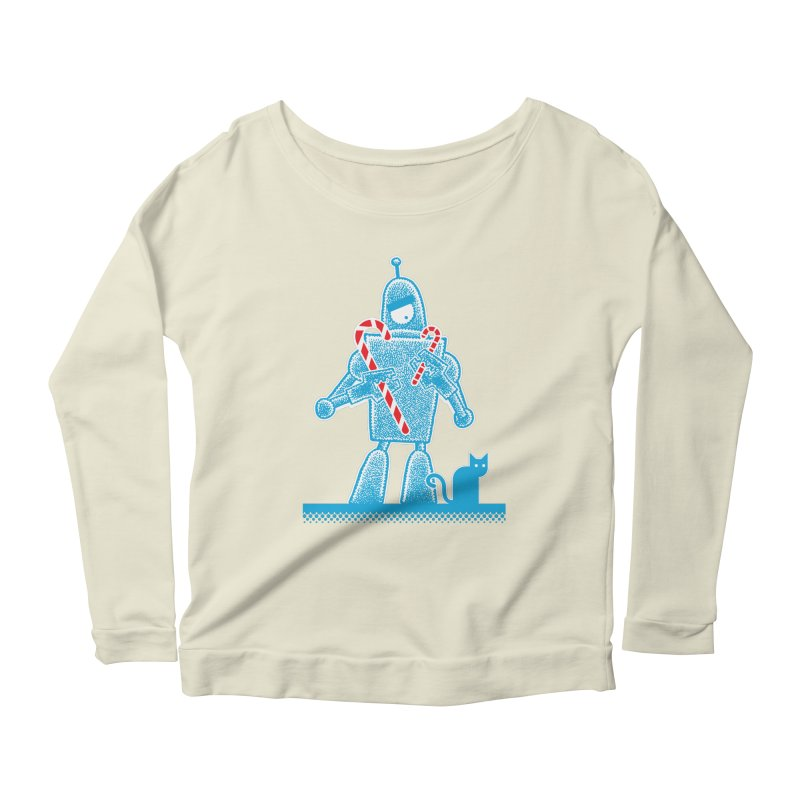 Robot Holiday Women's Longsleeve Scoopneck  by Calamityware