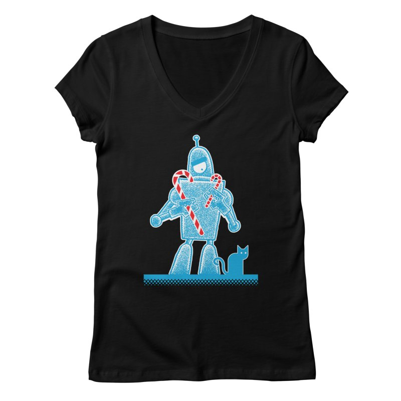 Robot Holiday Women's V-Neck by Calamityware