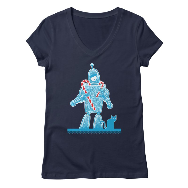 Robot Candy Cane Women's V-Neck by Calamityware