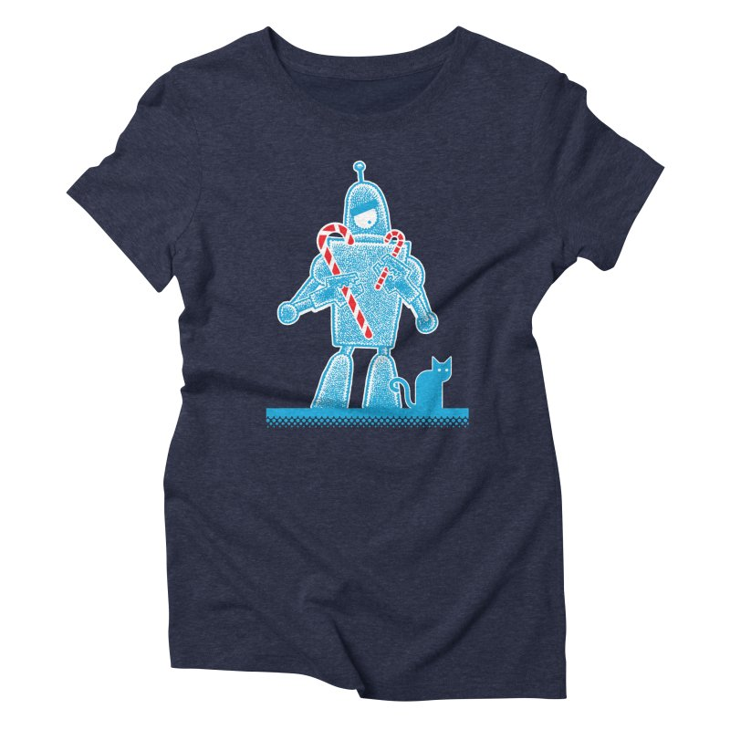 Robot Candy Cane Women's Triblend T-Shirt by Calamityware