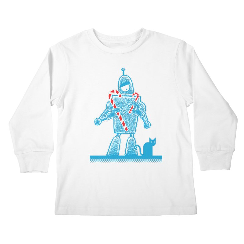 Robot Candy Cane Kids Longsleeve T-Shirt by Calamityware