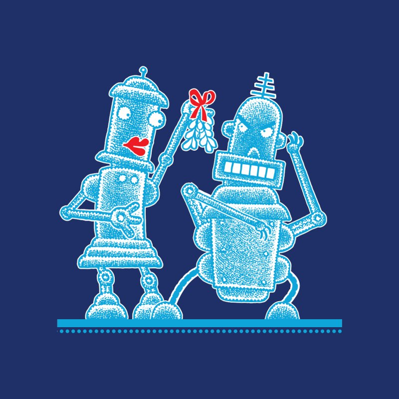 Robots Under Mistletoe Kids Pullover Hoody by Calamityware