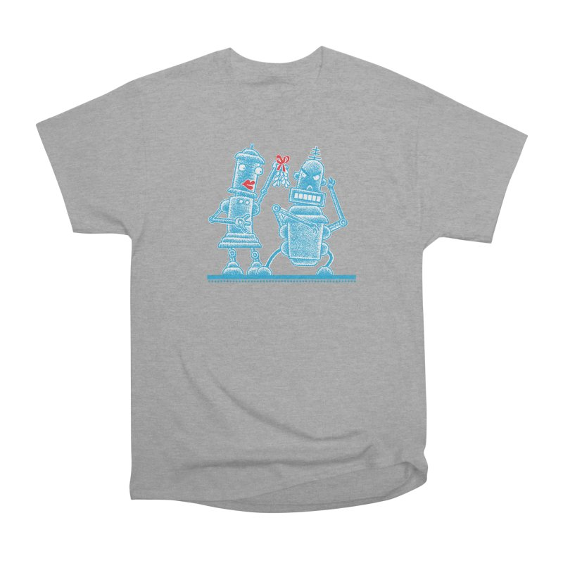 Robots Under Mistletoe Women's Heavyweight Unisex T-Shirt by Calamityware