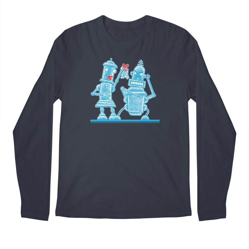 Robots Under Mistletoe Men's Longsleeve T-Shirt by Calamityware