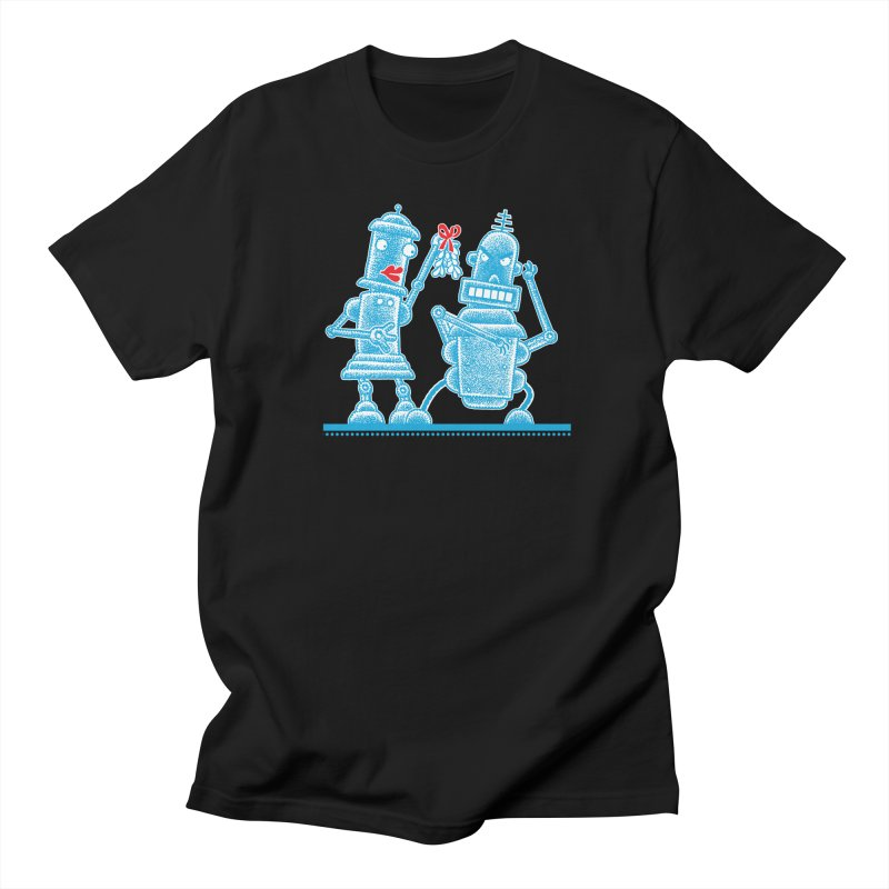 Robots Under Mistletoe Men's T-Shirt by Calamityware