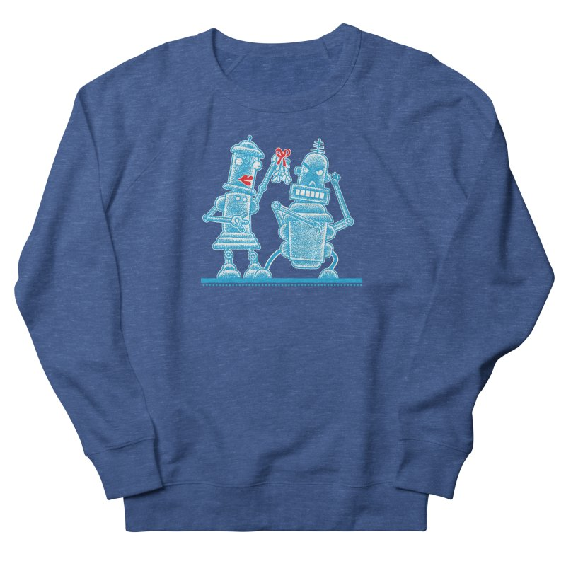 Robots Under Mistletoe Men's French Terry Sweatshirt by Calamityware