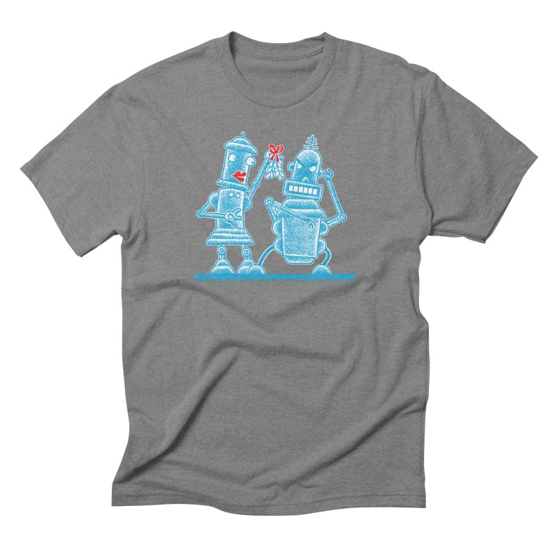 Robots Under Mistletoe Men's Triblend T-Shirt by Calamityware