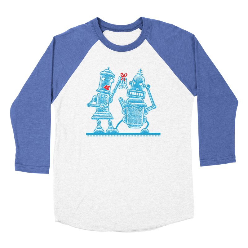 Robots Under Mistletoe Women's Baseball Triblend T-Shirt by Calamityware