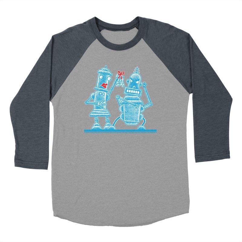 Robots Under Mistletoe Men's Baseball Triblend T-Shirt by Calamityware