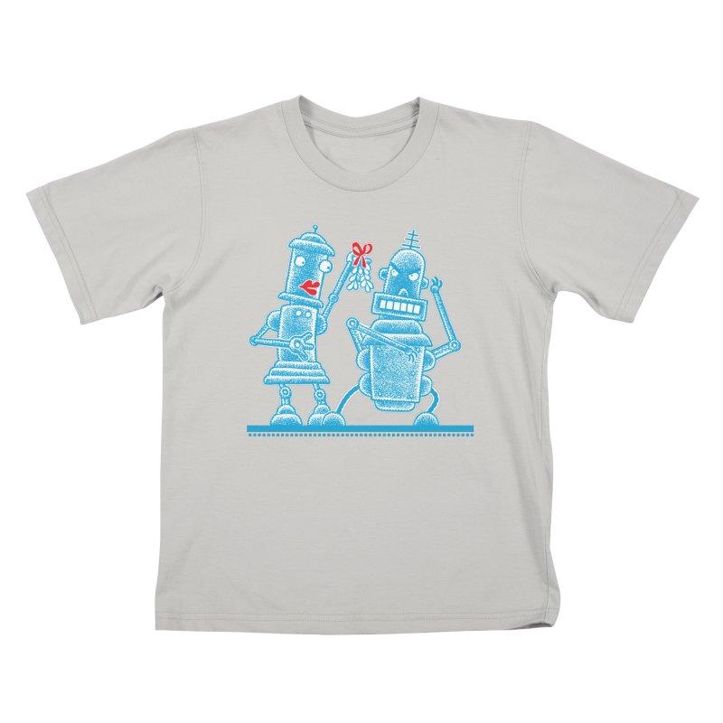 Robots Under Mistletoe Kids T-Shirt by Calamityware