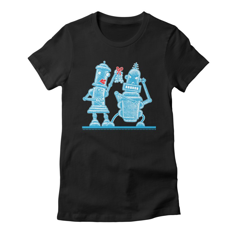 Robots Under Mistletoe Women's Fitted T-Shirt by Calamityware